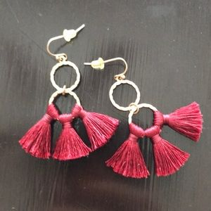 Crimson and gold earrings